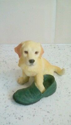 Labrador Dog Figurine with slipper Puppy Regency Fine Arts