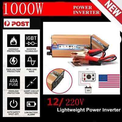 2000W Max 1000W Power Inverter Sine Wave DC 12V to AC 220V Power Display Adapter