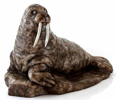 Walrus Hand Carved Calcite Figurine Russian Art Stone Animal Sculpture 5.5""
