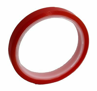Double Sided Clear Super Sticky Tape 6mm x 5M Red Roll Craft Adhesive