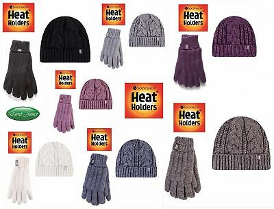 Ladies Heat Holders Tog Thermal Warm Turn Over Hat & Gloves Matching Set
