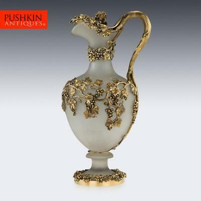 ANTIQUE 19thC VICTORIAN SOLID SILVER-GILT & GLASS EWER, MORTIMER & HUNT c.1843