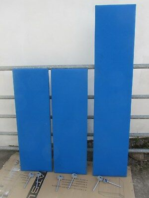 office desk dividers / screens in blue fabric