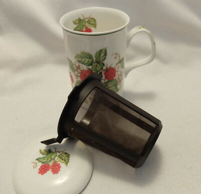 ROY KIRKHAM 'RASBERRY' BONE CHINA MUG with LID Fruit Garden  with strainer