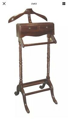 Solid Timber Mahogany Gentlemans Valet Clothing Stand, Vintage Style