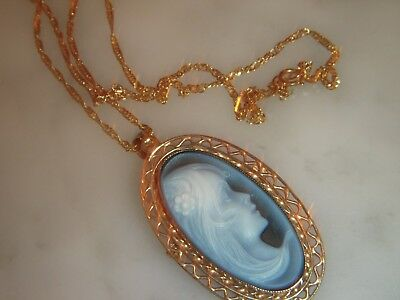 A Stunning 9 Ct Gold Oval Hardstone Blue Cameo Lady  Pendant And Chain