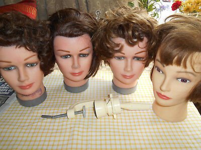 4 Mannequin real hair Heads & clamp sammy dimples USED Training Hairdressers