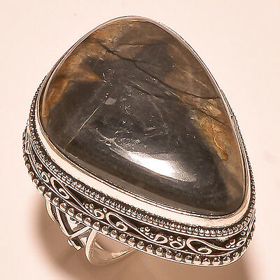 Picasso Jasper Gemstone .925 Silver Vintage Jewelry Ring Size 7.50 Free Shippin
