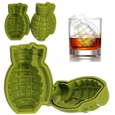 Grenade Silicone 3D Ice Cube Mold Maker Bar Party Drink Trays Mold Tool Creative