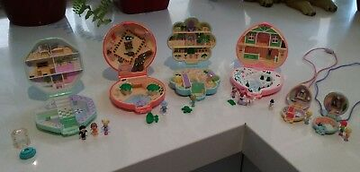 Vintage 1990s Polly Pocket Playsets - 4 Complete Playsets, 2 Necklaces