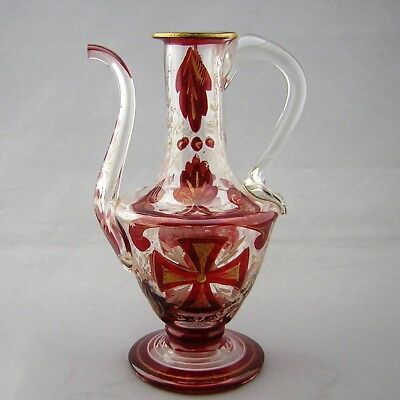 ANTIQUE BOHEMIAN GLASS EWER / WATER DROPPER - for Middle Eastern Market -19th C.