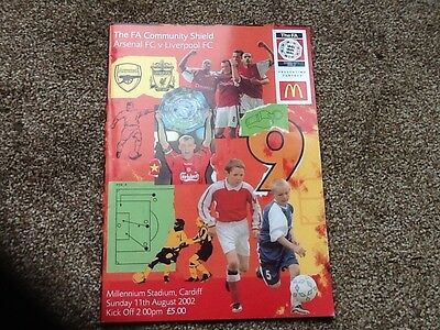 Arsenal v Liverpool 2002 FA Community Shield programme. Excellent condition