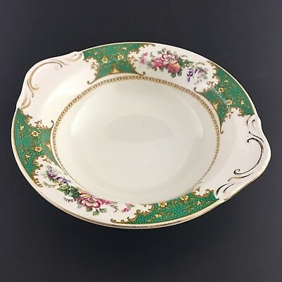 "Floral Green Bowl By Bridgwood Vintage Gold Trim Pattern Brantwood 9 1/4"" Di"