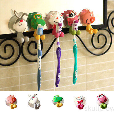 Cute Pig Toothbrush Wall Holder Suction Cup Animal Sucker Bathroom Storage new
