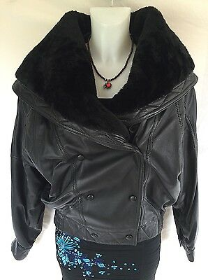 lakeland Ladies leather jacket  Size 10 With Rich Fur Collar