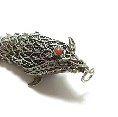 Stunning Unusual Large Vintage Articulated Silver & Coral Fish Box Pendant (A4)