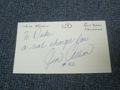 Jim Allen Autographed Index Card