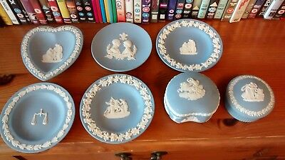 Job Lot Collection of 7 Pieces Wedgwood Blue Jasper Ware