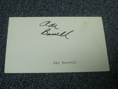 Ode Burrell Autographed Index Card