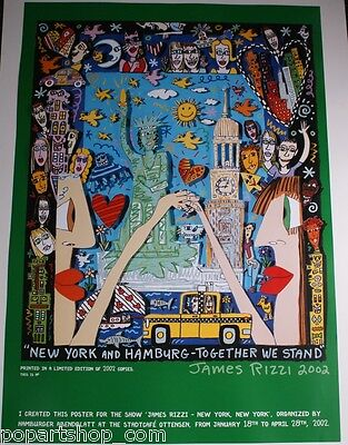 JAMES RIZZI PLAKAT *NewYork und Hamburg together we stand*  HANDNUMMERIERT!