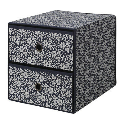 IKEA FLARRA Mini Chest With 2 Drawers,Blue floral patterned 33 X 38 X 33 cm