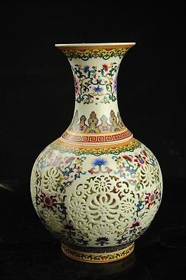 Set 2 Pieces Hollowed Chinese Colorful Porcelain Big Vase w QianLong Mark  w