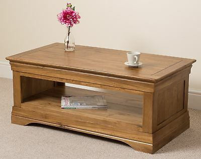 French Rustic Solid Oak Wood Coffee Table Wooden Living Room Lounge Furniture