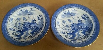 """Pair early Spode blue & white 7"""" plates with oriental design c1780"""