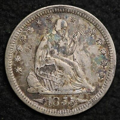 1855 Seated Liberty Quarter CHOICE VF FREE SHIPPING E262 T