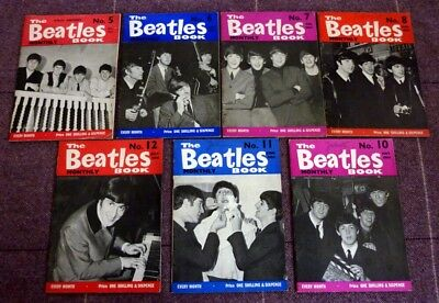 The Beatles, A COLLECTION OF 7 ORIGINAL 1963-1964 THE BEATLES MONTHLY BOOKS.