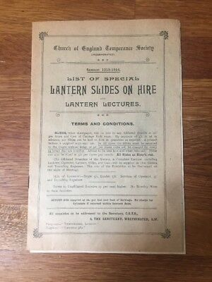 Church Of England Temperance Society 1913 List Of Lantern Slides And Lectures