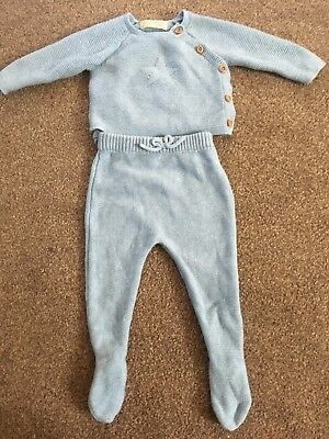 Baby Boy Xara Blue Knitted Top And Leggings Size 1-3 Months