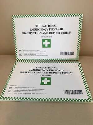2 Patient Report Form Pads, Emergency First Aid Observation Forms