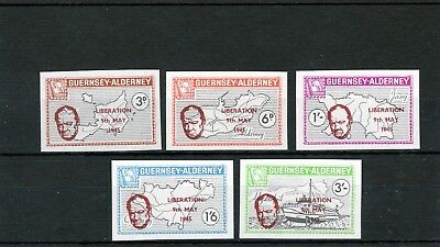 Alderney 1965 Liberation  AC41-AC45 Imperforate Proofs UM