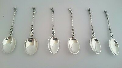 Very pretty solid silver german coffee spoons x6, c1890, 68g