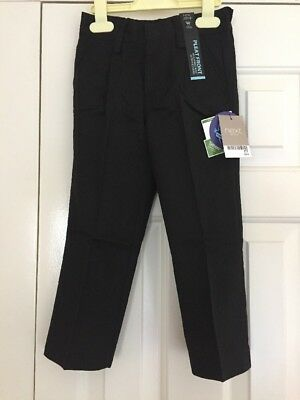 BNWT Boys Next Black School Trousers Age 3 Years Front Pleat Adjustable Waist