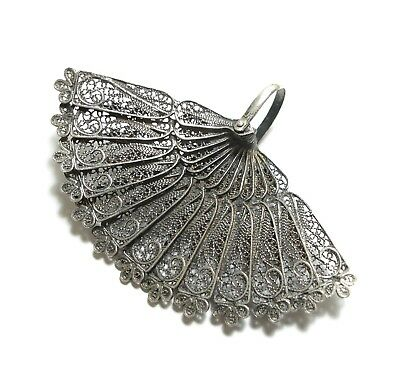 Beautiful Old Large Antique Victorian Silver Filigree Fan Novelty Pendant (A13)