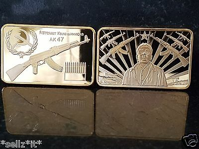 AK47 Soviet Russian Mikhail Kalashnikov 1947 Gold medal coin Commemorative bar