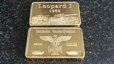 1 Oz German Tank Commemorative Gold Bar Leopard 1 1965 Deutsche Ingot