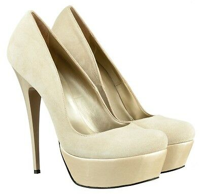 Mori Italy Platform Sexy New High Heels Pumps Schuhe Shoes Leather Beige Nude 45