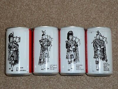 Empty set of 12 oz Tennents Piper Export Ale Beer Cans