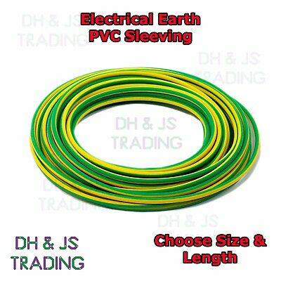 Electrical PVC Sleeving Earth Green Yellow 2mm 3mm 4mm Tubing Wire Cable Socket