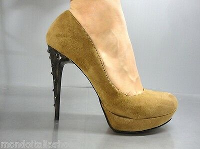 Mori Italy Platform High Heel Pumps Schuhe Shoes Suede Leather Brown Marrone 42