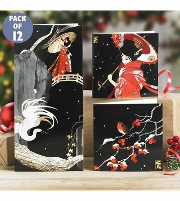 NEW 2 packs 24 oriental style christmas cards & envelopes