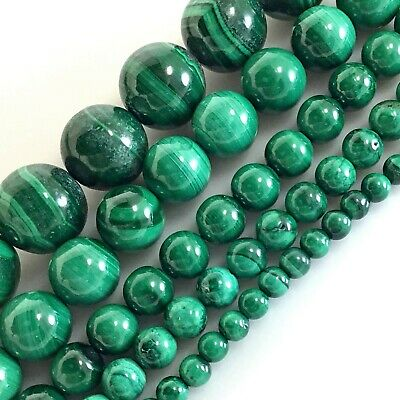 "Gemstone Natural Green Malachite Round Spacer Loose Beads 15"" 4mm 6mm 8mm 10mm"
