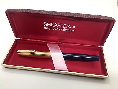 Vintage Sheaffer Imperial USA 12K Gold Plated Cap - 14K Gold Nib - Blue, Boxed