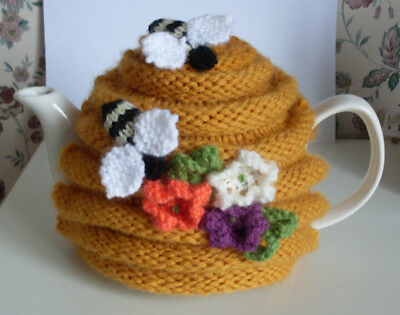 'Honey Bees Lodge' - Handknitted Tea Cosy Med/Large - New