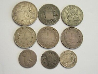 Lot of 9 Belgium Silver Coins, dated between 1869 & 1950
