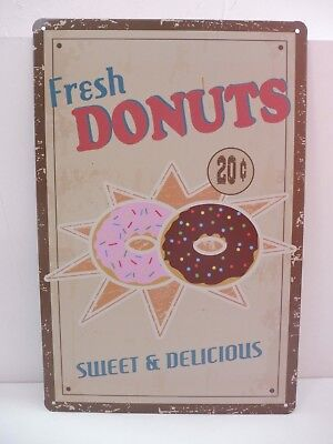 "PLAQUE TOLE 20 x 30 cm DECORATION ""FRESH DONUTS DELICIOUS"" Neuf Emballage..."