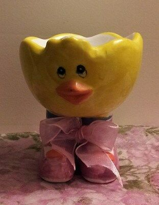 Vintage Yellow Chick Egg Cup With Socks & Shoes!!!